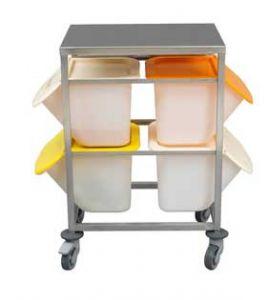Transportwagen mit Tischplatte für 4 Zutatenbehälter 15 Liter